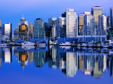 City Skyline and Coal Harbour, Dusk, Vancouver, Canada Photographic Print by David Tomlinson