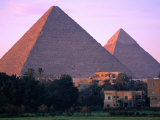 Pyramids of Giza from North East at Sunrise, Giza, Egypt Fotografisk tryk af John Elk III