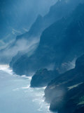 Mist on Rocky Coastline, Kauai, Hawaii, USA Photographic Print by Eric Wheater