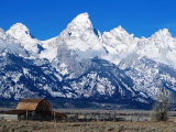 Old Farm with Snowy Tetons Backdrop, Grand Teton National Park, U.S.A. Photographic Print by Christer Fredriksson