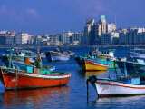 Harbour View with Fishing Boats, Alexandria, Egypt Fotografisk tryk af John Elk III