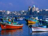 Harbour View with Fishing Boats, Alexandria, Egypt Fotografie-Druck von John Elk III