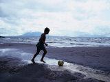 Boy Kicking Soccer Ball on Beach, Lake Nicaragua, Granada, Nicaragua, Giclee Print