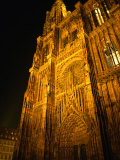 Strasbourg's Cathedrale of Notre Dame at Night, Strasbourg, Alsace, France Photographic Print by Stephen Saks