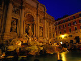 High-Baroque Styled Trevi Fountain at Night, Rome, Lazio, Italy Photographic Print by Glenn Beanland