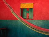 Detail of Painted House Facade with Shutter and Hammock, La Venta Del Sur,Choluteca, Honduras Fotografie-Druck von Jeffrey Becom