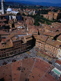 Aerial View of Square from Top of Torre Del Mangia Siena, Tuscany, Italy Photographic Print by Glenn Beanland