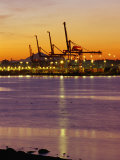 Cranes Unloading Cargo at Burrard Inlet at Dawn, Vancouver, Canada Photographic Print by Ryan Fox