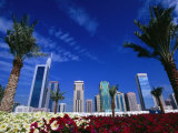 Skyline with Flowers in Foreground, Shiek Zayed Rd, Dubai, United Arab Emirates Photographic Print by Phil Weymouth
