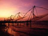 Traditional Fishing Nets at Sunset, Kochi, Kerala, India Photographic Print by Greg Elms