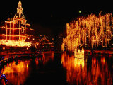 Lake in Tivoli Gardens Illuminated for Christmas Market, Copenhagen, Denmark Photographic Print by Anders Blomqvist