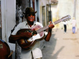 Guitar-Playing Troubador, Trinidad, Sancti Spiritus, Cuba Photographie par Christopher P Baker