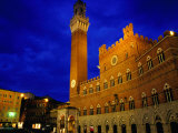 Imposing Torre Del Mangia and Palazzo Pubblico by Night, Siena, Tuscany, Italy Photographic Print by Glenn Beanland