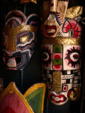 Masks in Handicraft Store, China Town, Malaysia Photographic Print by Wayne Walton
