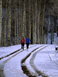Women Jogging in a Wintery Park City, Park City, Utah, USA Photographic Print by Cheyenne Rouse