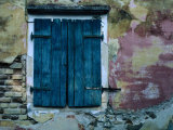 Painted Stucco Wall and Wooden Shutter, Corfu Island, Ionian Islands, Greece Photographic Print by Jeffrey Becom