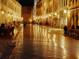 People Sitting at Tables on Placa at Night, Dubrovnik, Croatia Photographic Print by Richard Nebesky