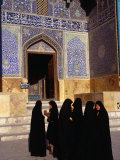 Women Wearing Full Chador Outside the Sheik Lotfollah Mosque, Esfahan, Iran Photographic Print by Patrick Syder