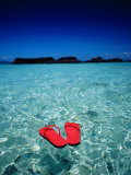 Red Thongs Floating on Sea off Ko Kham, Thailand Photographic Print by Woods Wheatcroft