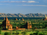 Plains of Bagan, with Two Guni Pahtos and the Dhamma Yan-Zi-Ka Zedi, Old Bagan, Mandalay, Myanmar Photographic Print by Anders Blomqvist