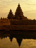 Shore Temples Reflected in Pond, Mamallapuram, Tamil Nadu, India Photographic Print by Greg Elms
