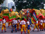 Men Performing Dragon Dance, Macau, China Photographic Print by Richard I'Anson