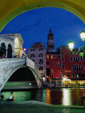 Rialto Bridge at Night, Venice, Veneto, Italy Photographic Print by Roberto Gerometta