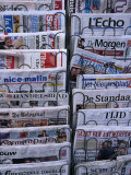 French and Flemish Newspapers, Brussels, Belgium Photographic Print by Jean-Bernard Carillet