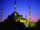 The Blue Mosque of Sultan Ahmed I (Built Between 1609 and 1616) at Night, Istanbul, Turkey Photographic Print by Wes Walker