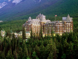 Banff Springs Hotel, Dusk, Banff National Park, Canada Photographic Print by David Tomlinson