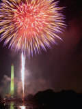 Fireworks Above Washington Monument on 4th of July, Washington DC, USA Photographic Print by Kevin Levesque