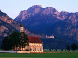 Church of St. Coloman with Neuschwanstein Castle in Background, Schwangau, Bavaria, Germany Photographic Print by David Tomlinson