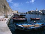 Boats Moored in Harbour, Bizerte, Bizerte, Tunisia Fotografisk tryk af Jane Sweeney