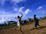 Playing Volleyball in Bangau Bangau, Semporna, Sabah, Malaysia Photographic Print by Mark Daffey