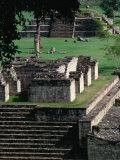 Temples 9 and 4 in the Central Square of the Maya Ruins, Copan, Honduras Photographic Print by Alfredo Maiquez