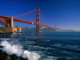 Waves Pound Fort Point Beneath the Golden Gate Bridge, San Francisco, California, USA Photographic Print by David Tomlinson