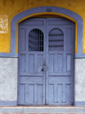 A Smokey Grey Wooden Door Of A Painted Colonial House, Granada,Granada, Nicaragua, Giclee Print