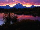 Sunset Over Snake River, Oxbow Bend, Grand Teton National Park, USA Papier Photo par Carol Polich