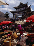 Market Day on Small Palou Island, Lake Erhai, Yunnan, China Photographic Print by Diana Mayfield