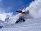 Snowboarder Carving Through Powder Snow, St. Anton Am Arlberg, Tirol, Austria Fotoprint van Christian Aslund