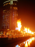 Fire Show in Front of Crown Casino, Melbourne, Australia Photographic Print by John Banagan