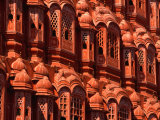 Facade of Carved Stone Windows on Hawa Mahal, Palace of the Winds, Jaipur, Rajasthan, India Photographic Print by Dallas Stribley