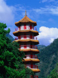 Pagoda at Tienhsiang, Taroko Gorge National Park, Hualien, Taiwan Photographic Print by Martin Moos