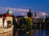 Charles Bridge and City Buildings from Manesuv Bridge, Prague, Czech Republic Photographic Print by Izzet Keribar