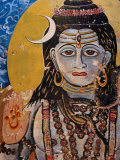 Hindu Mural on Dr. Rajendraprsad Ghat, Varanasi, Uttar Pradesh, India Photographic Print by Richard I'Anson
