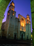 Facade of the Cathedral on Plaza Mayor, Merida, Mexico Photographic Print by John Elk III