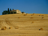 Hay Bales and Farm House Near Pienza, Pienza, Tuscany, Italy Photographic Print by Diana Mayfield