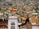 Flag Flying on City Tower, Barcelona, Catalonia, Spain Photographic Print by Christopher Groenhout