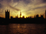 Houses of Parliament Silhouetted at Sunset, London, United Kingdom Photographic Print by Dennis Johnson