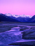 Waimakariri River Valley and Snow-Capped Mountains Behind, Arthur's Pass National Park, New Zealand Photographic Print by Wes Walker